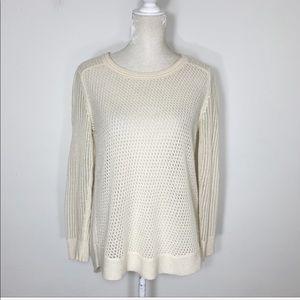 White + Warren 100% cashmere open knit sweater